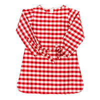 The Red Check Silk Girls Tunic Dress