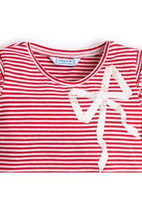 Mayoral - Red & White Stripe Top w/ Bow - kkgivingtree - K&K's