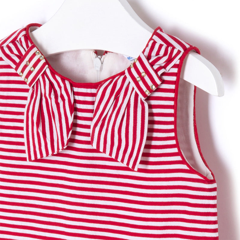 Red & White Stripe Drop-Waist Dress