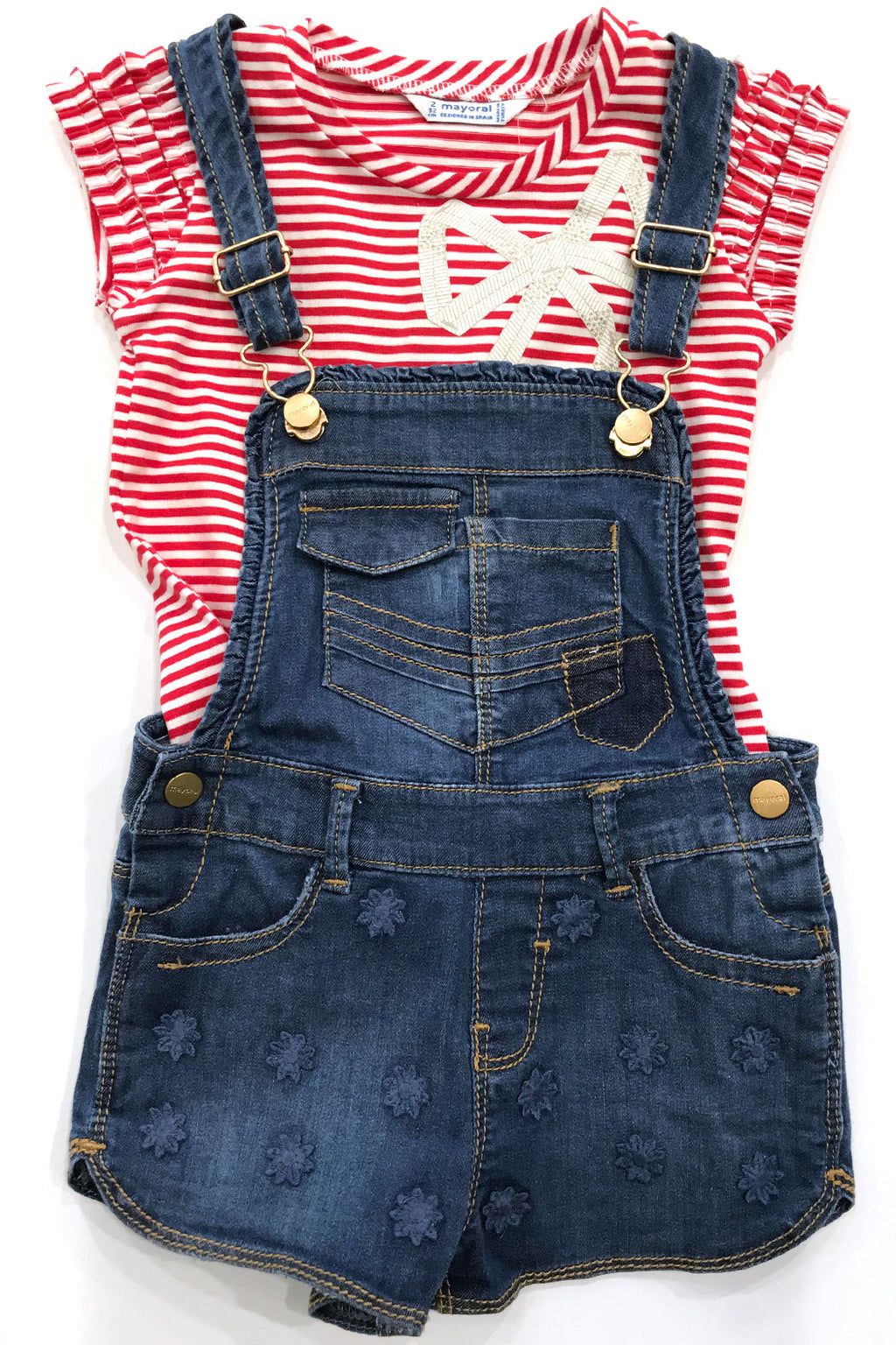 Mayoral - Denim Floral Dungaree Shorts - kkgivingtree - K&K's