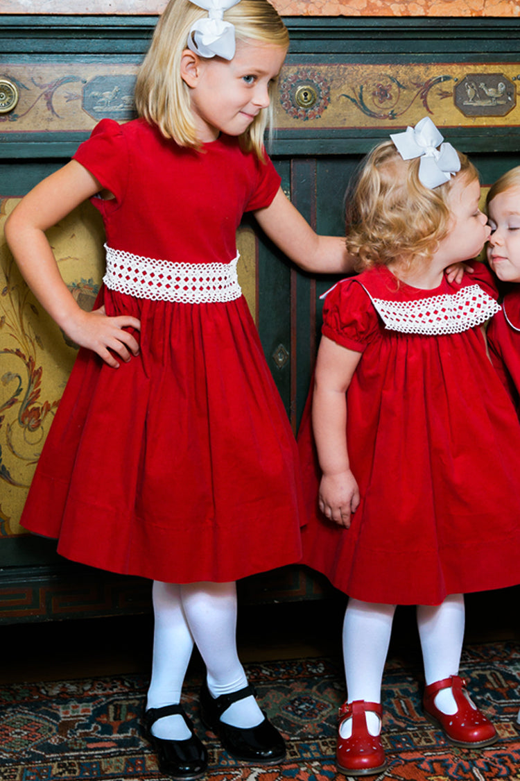 Ruby Red Corduroy & Ivory Lace Dress