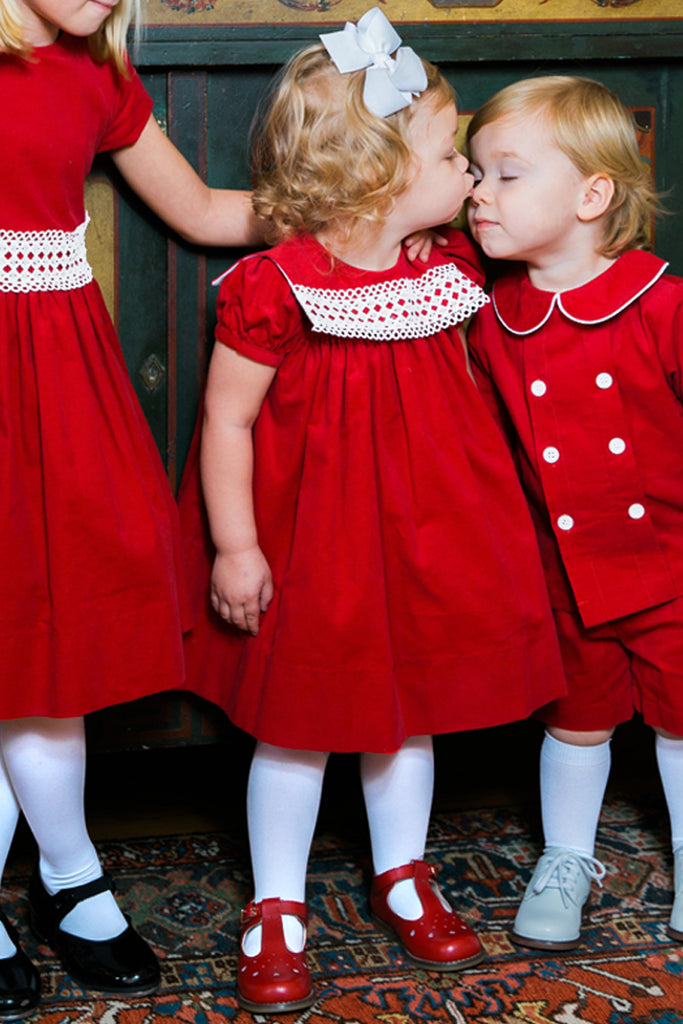 Ruby Red Corduroy & Ivory Lace Float Dress
