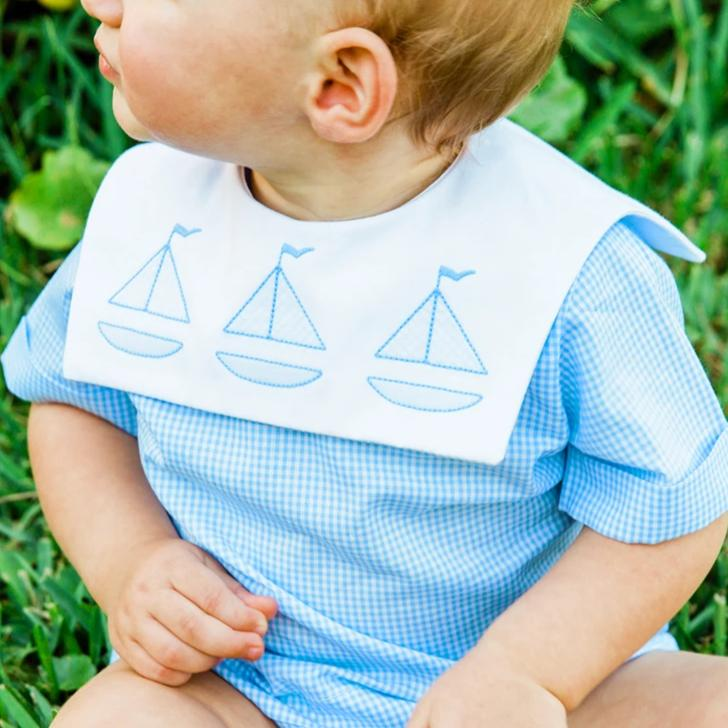Sailboat Shadow Stitched Diaper Cover Set