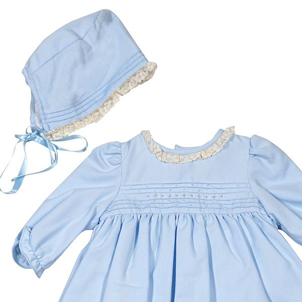 Dress With Lace & Bonnet - Blue