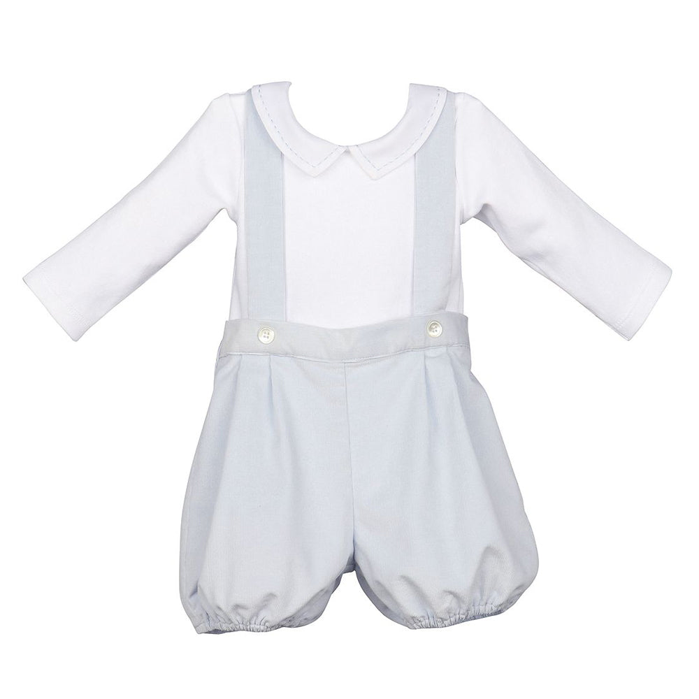 Blue Corduroy Suspender Bubble with White Bodysuit Set