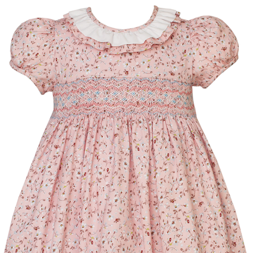Smocked Dress with Ruffle Collar - Pink/Floral