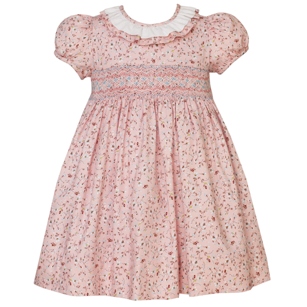 Puff Sleeve Pink Liberty Floral Dress w/ Ruffle Collar
