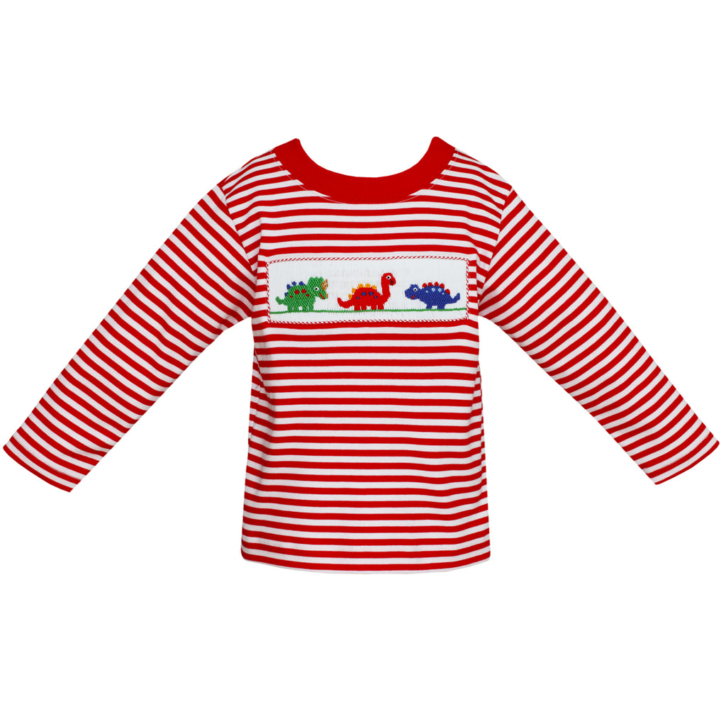 Smocked Dinosaur Red & White Stripe T-Shirt