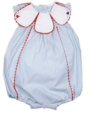 Sophie & Lucas - Blue Stripe Seaside Bubble w/ Petal Collar - kkgivingtree - K&K's Giving Tree