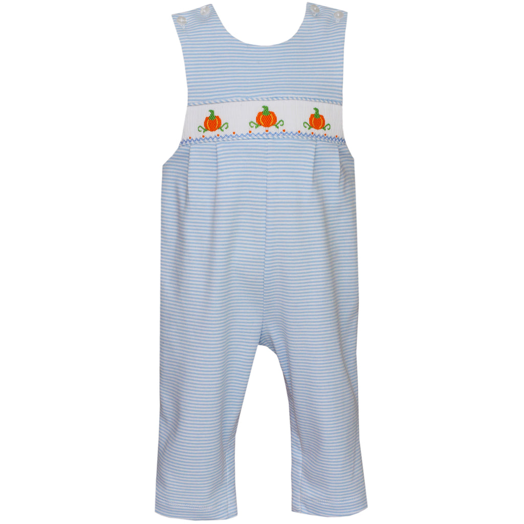 Blue Stripe Knit Pumpkin Long John John
