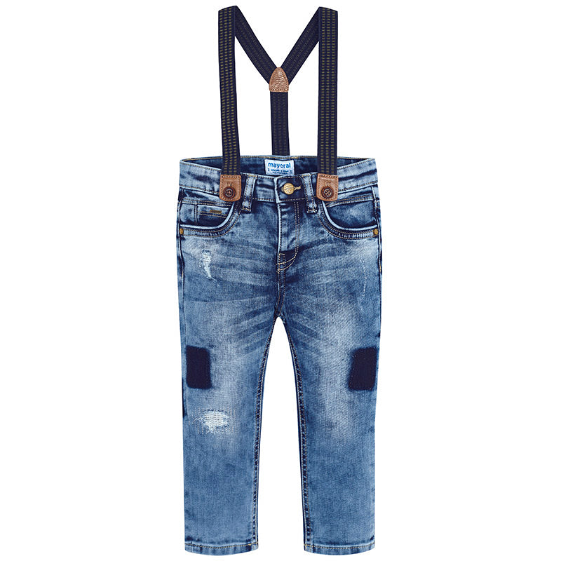 Distressed Patchwork Denim Jeans with Suspenders