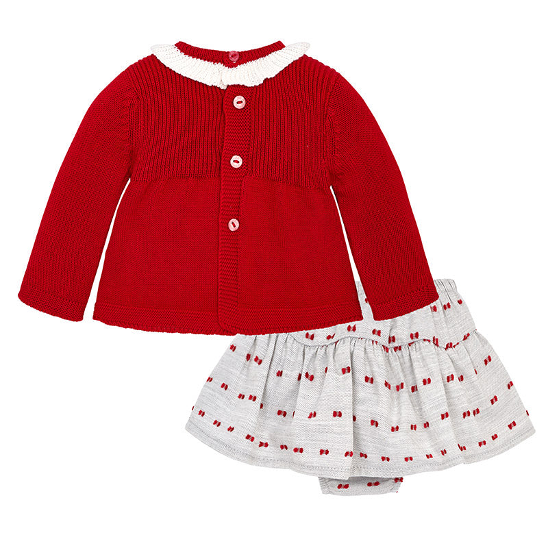 Red Knitted Sweater & Skirt Set