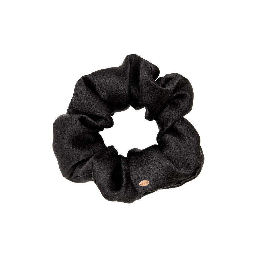 Silk Black Night Owl Sweet Dreams Scrunchie