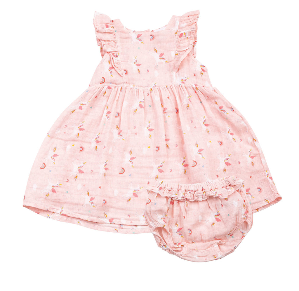 Pink Unicorn Ruffle Dress and Diaper Cover