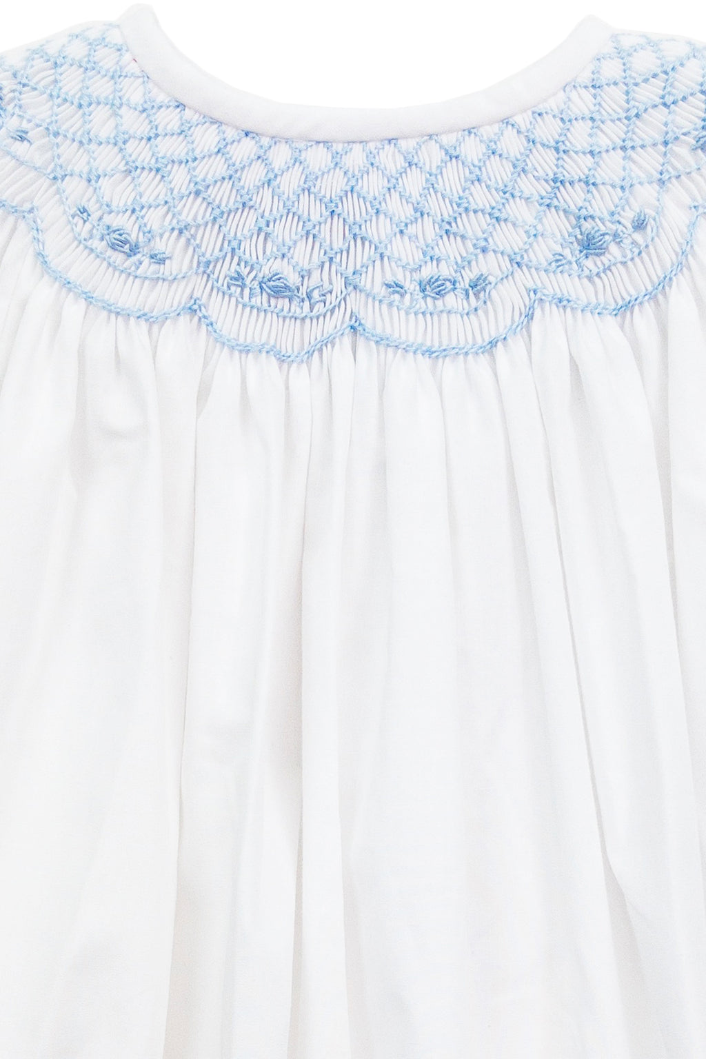 Baby Blue Smocked White Bishop Dress