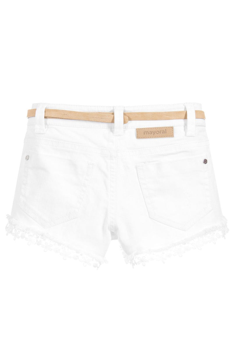 Mayoral White Denim & Lace Shorts w/ Belt - kkgivingtree - K&K's Giving Tree