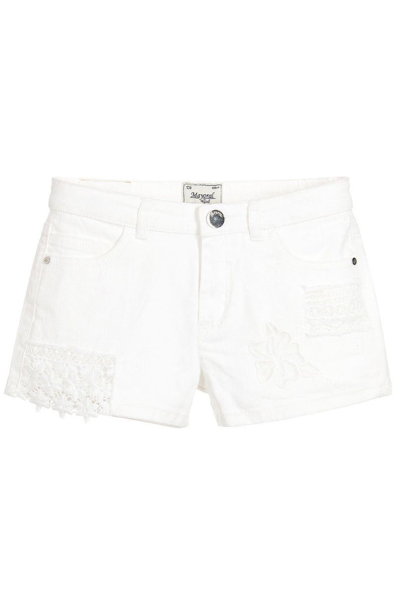 Mayoral White Denim & Lace Shorts - kkgivingtree - K&K's Giving Tree