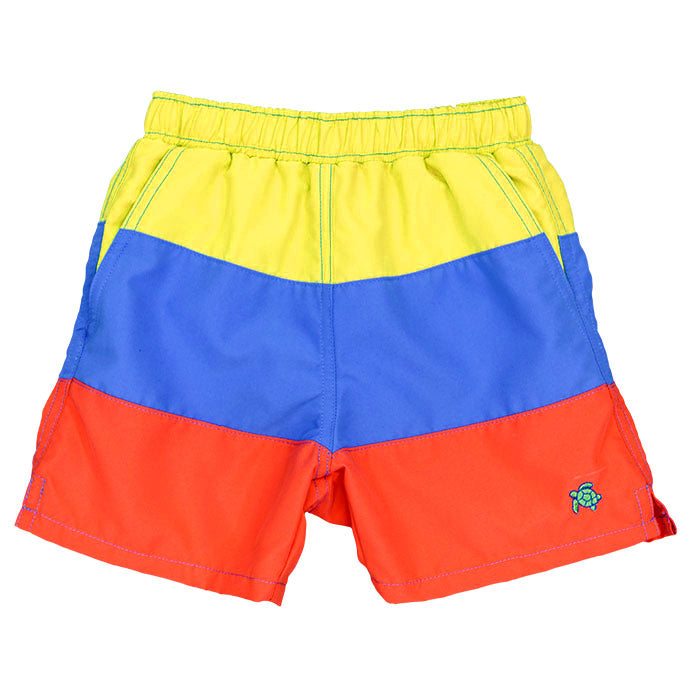 Yellow/Blue/Orange Stripe Board Shorts