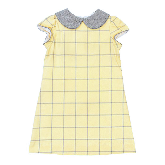 Yellow & Grey Flannel A-Line Dress