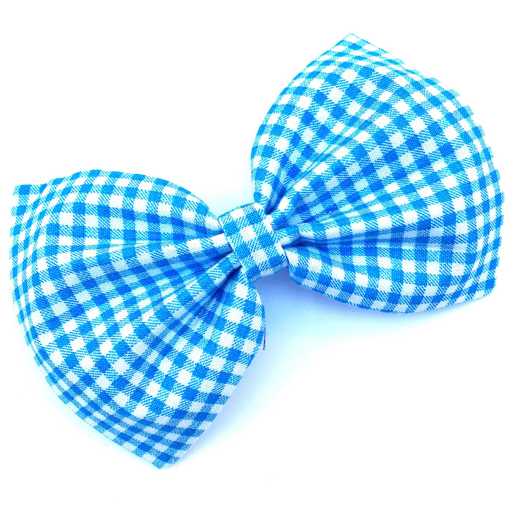 Light Blue Gingham Bow Tie