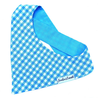 Blue Gingham Reversible Bandana