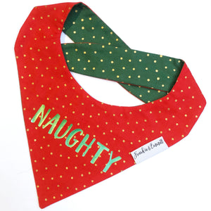 Naughty or Nice Reversible Christmas Bandana