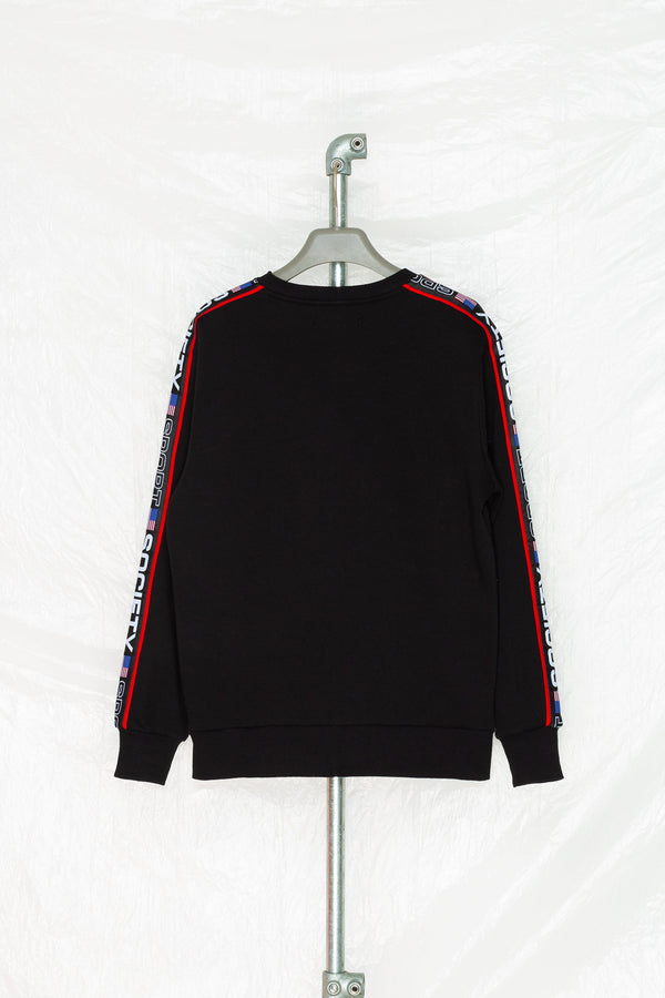 SOCIETY SPORT BLACK TAPED CREWNECK