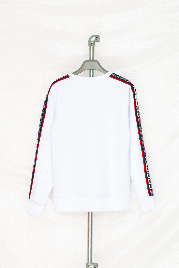 SOCIETY SPORT WHITE TAPED CREWNECK
