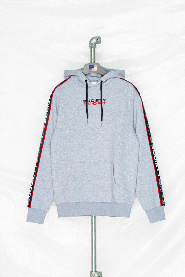 SOCIETY SPORT GREY TAPED PULLOVER