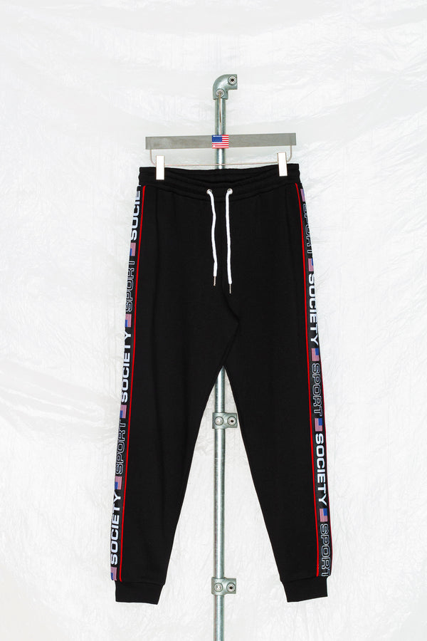 SOCIETY SPORT BLACK TAPED JOGGER