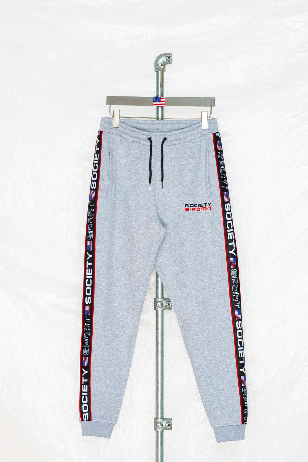 SOCIETY SPORT GREY TAPED JOGGER