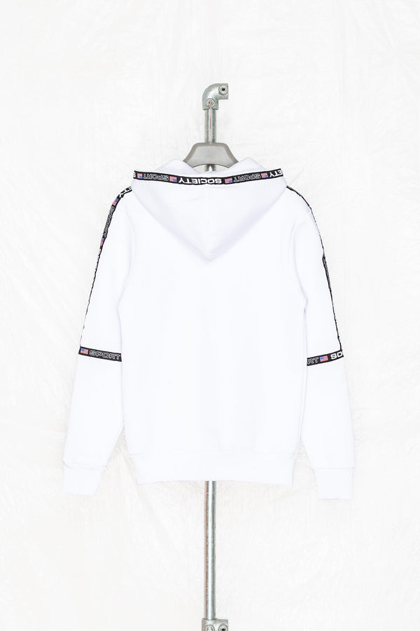SOCIETY SPORT WHITE MICROTAPE PULLOVER