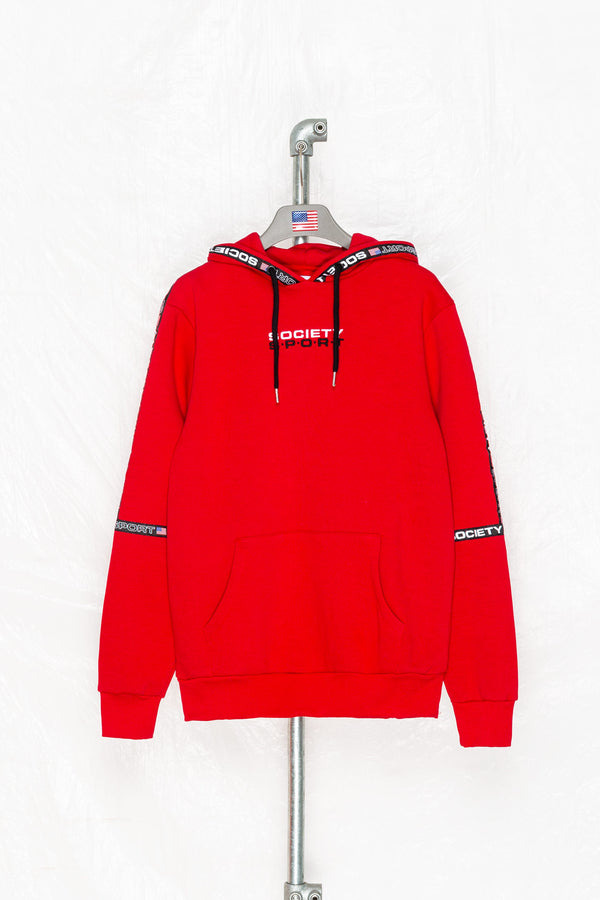 SOCIETY SPORT RED MICROTAPE PULLOVER