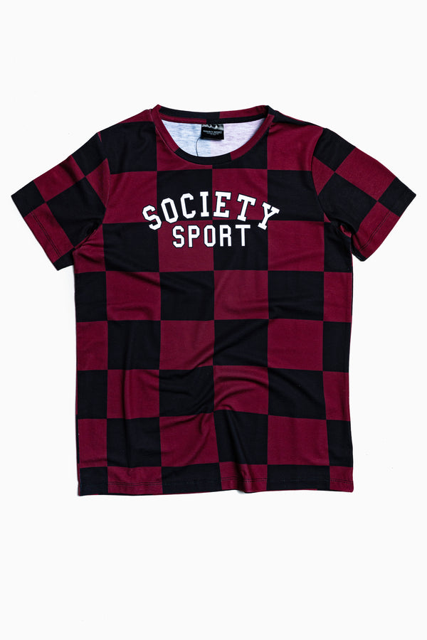 SOCIETY SPORT RED CHECK T-SHIRT