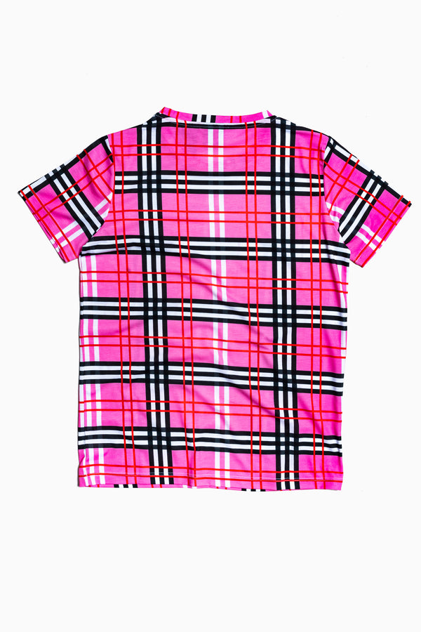 SOCIETY SPORT PINK CHECK T-SHIRT