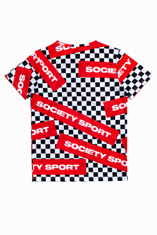 SOCIETY SPORT CHECK LOGO T-SHIRT