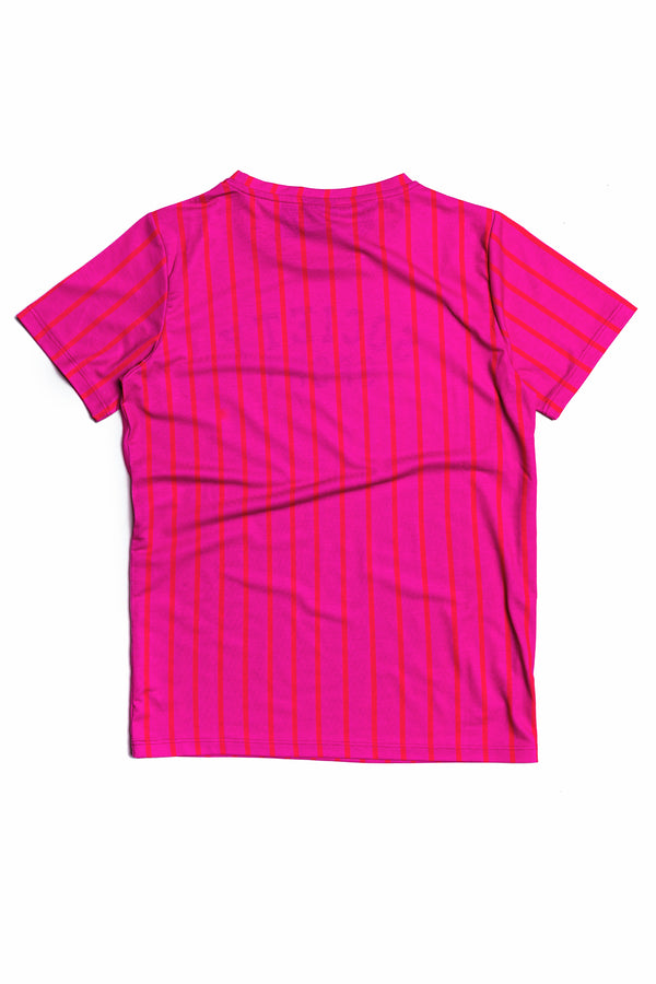 SOCIETY SPORT PINK STRIPE T-SHIRT