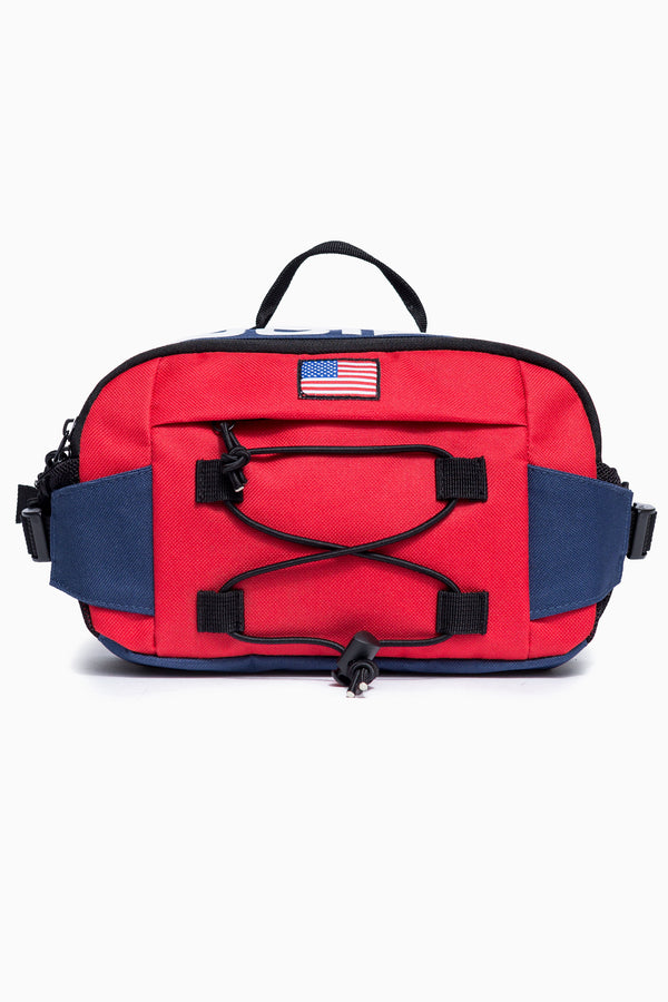 SOCIETY SPORT RED/NAVY FLAG CROSS BODY BAG