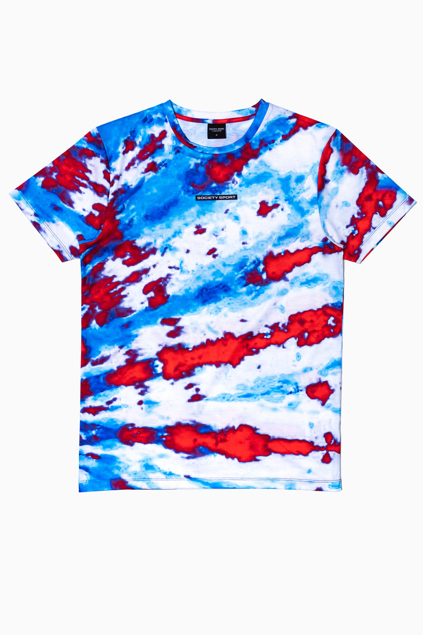 SOCIETY SPORT RED TIE DYE MEN'S T-SHIRT
