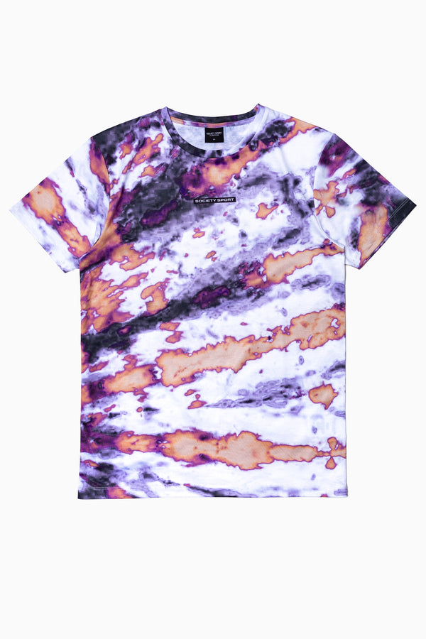 SOCIETY SPORT PURPLE TIE DYE MEN'S T-SHIRT