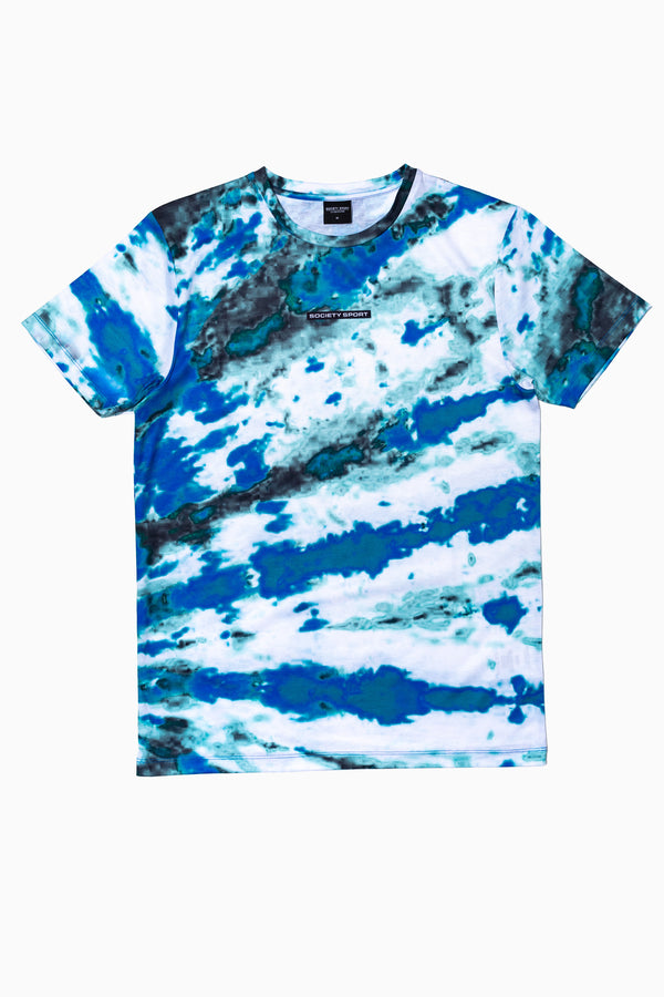 SOCIETY SPORT TEAL TIE DYE MEN'S T-SHIRT