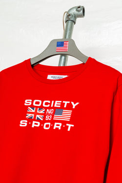 SOCIETY SPORT FLAGS 93 RED LONGSLEEVE T-SHIRT