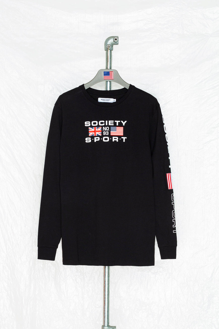 SOCIETY SPORT FLAGS 93 BLACK LONGSLEEVE T-SHIRT