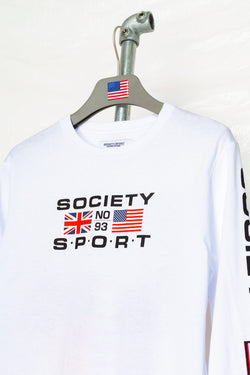 SOCIETY SPORT FLAGS 93 WHITE LONGSLEEVE T-SHIRT