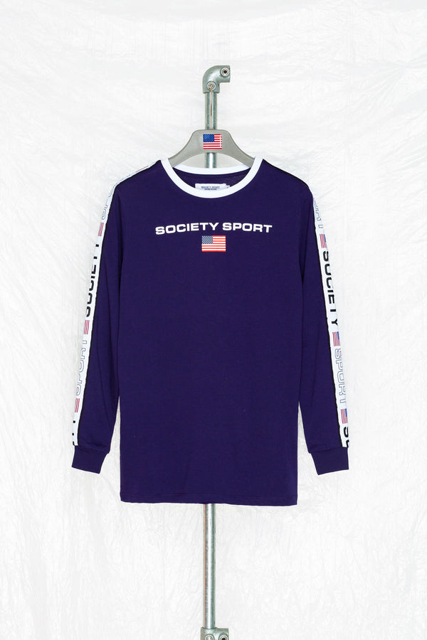 SOCIETY SPORT NAVY TAPE L/S T-SHIRT