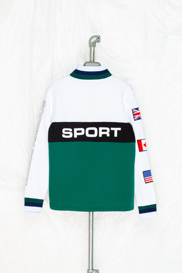 Society Sport 1/4 zip green panel sweat