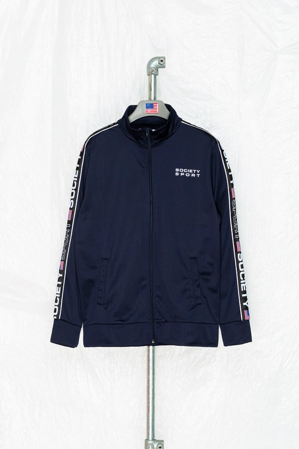 SOCIETY SPORT NAVY TAPED POLY TRACK JACKET