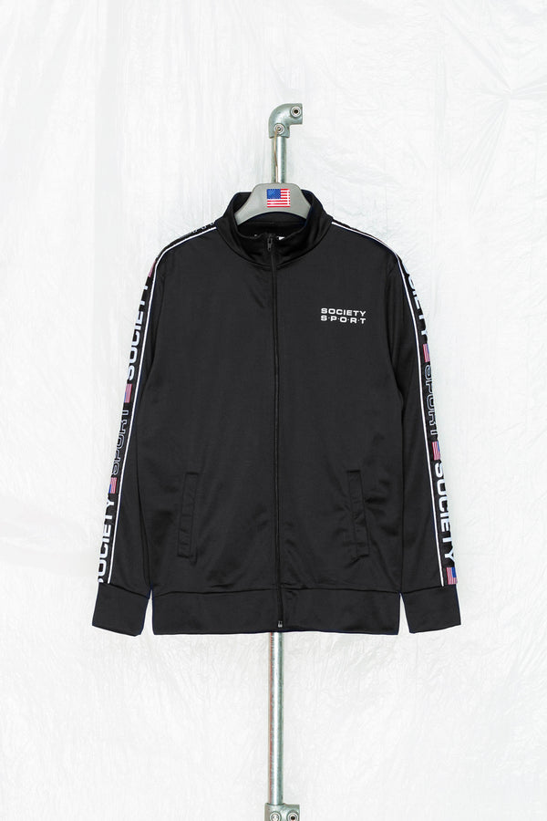 SOCIETY SPORT BLACK TAPED POLY TRACK JACKET