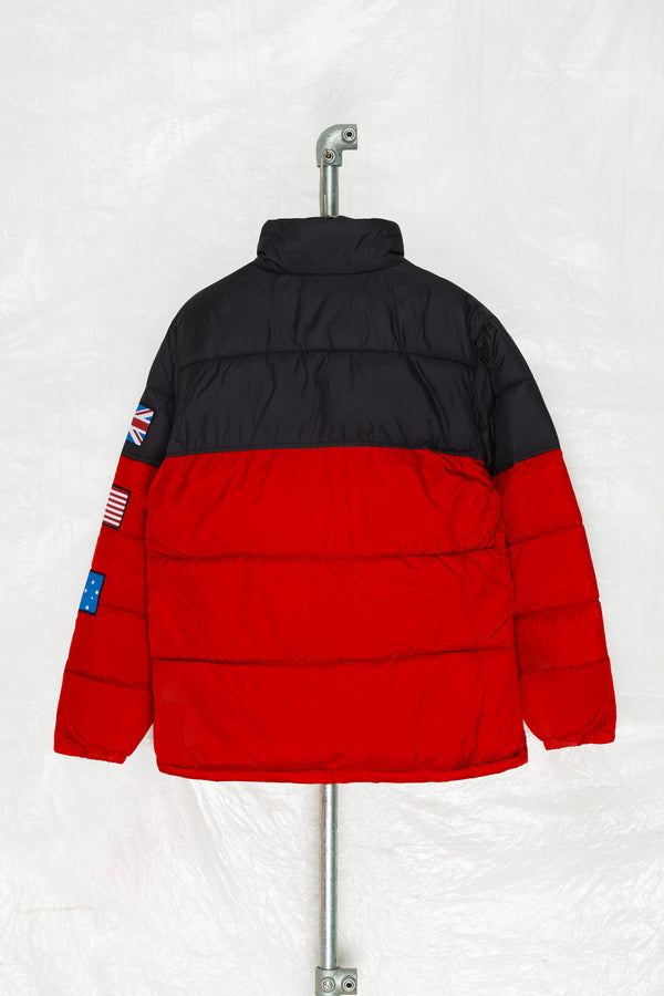 SOCIETY SPORT BLACK/RED FLAGS PUFFER JACKET