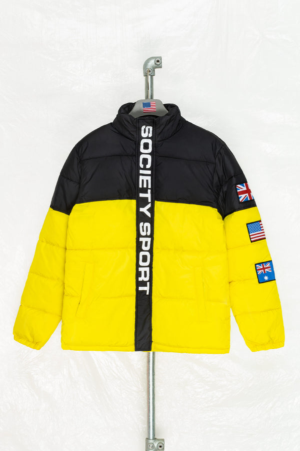 SOCIETY SPORT BLACK/YELLOW FLAGS PUFFER JACKET